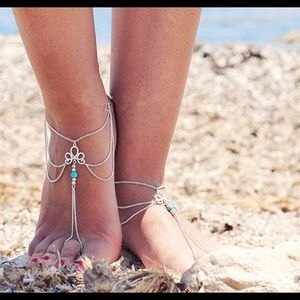 Jewelry - Lotus Teal Stone Anklet Barefoot Sandal Toe Chains